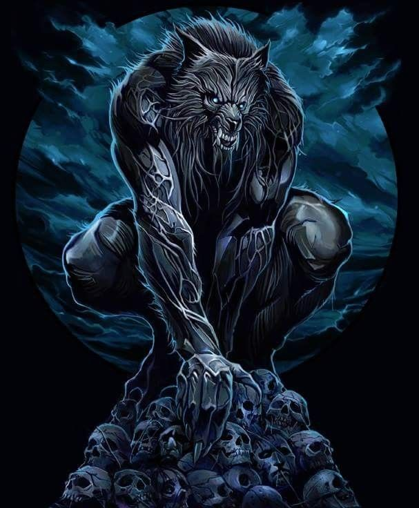 Werewolves Shifters: Werewolf Standing Over His Pile Of Bones And Trophies