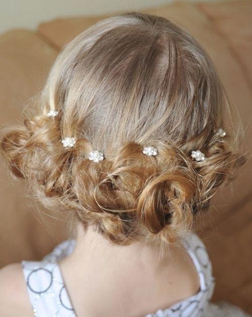 flower girl updos for weddings | low bun for flower girls ...