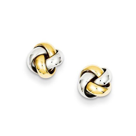 Love Knot Stud Earrings In 14k Two Tone Gold