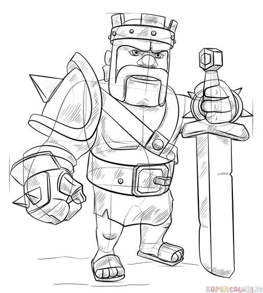 how to draw clash royale king