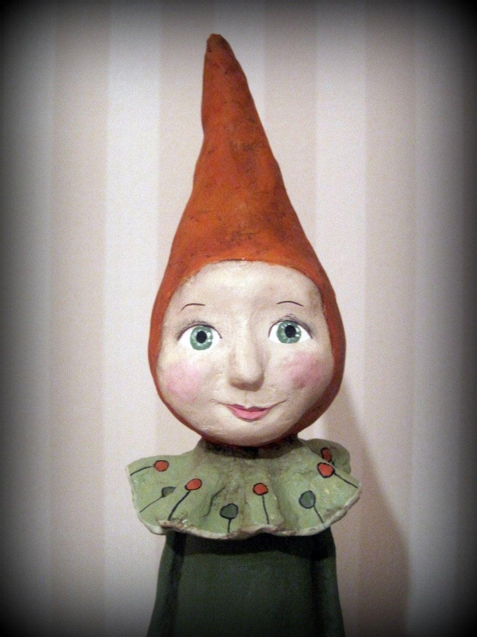 RESERVED Rabbit doll papier mache folk art doll OOAK   DIY