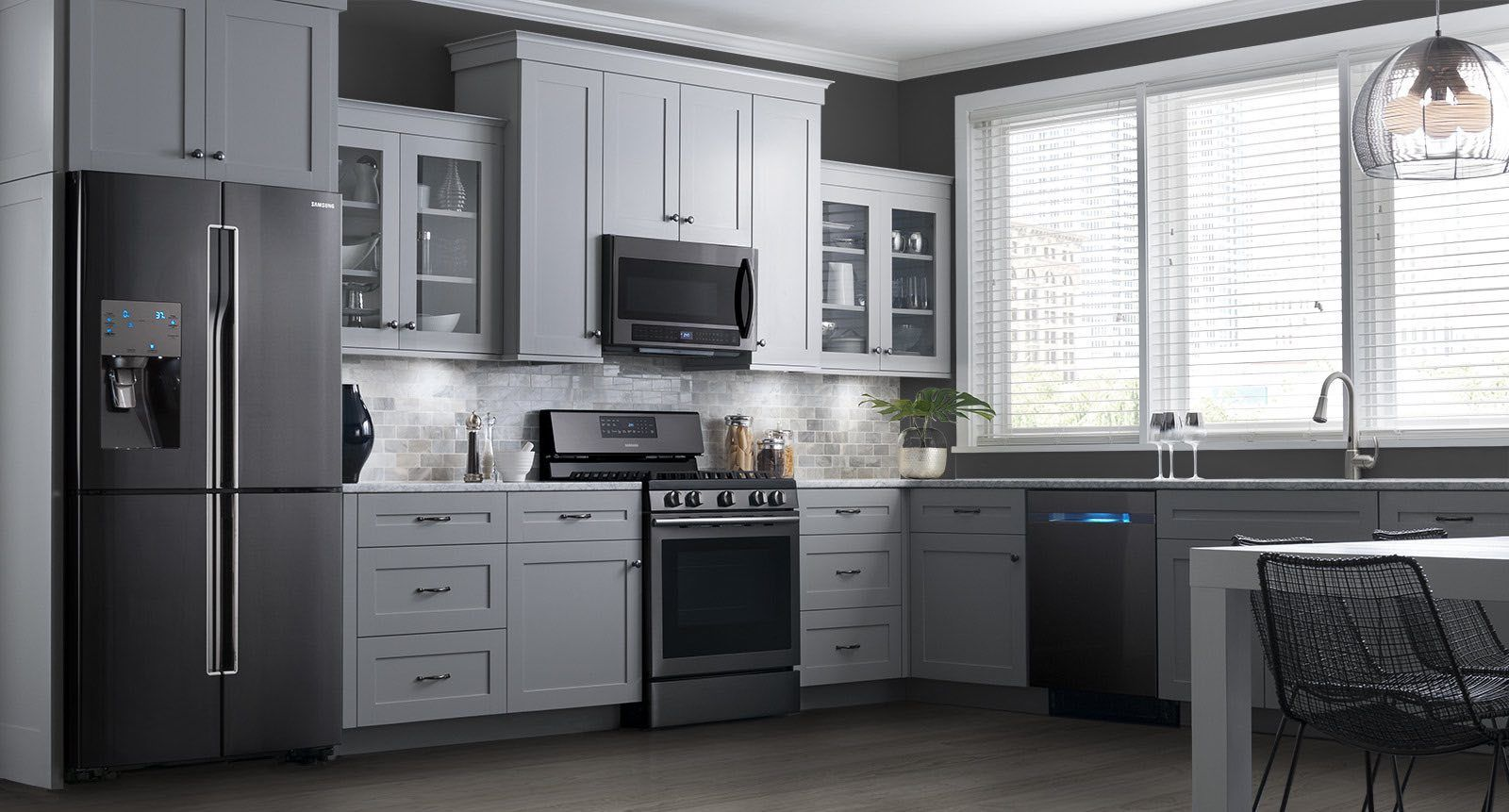 Picture Of Dark Grey Wall Light Grey Cabinet Finish Black Appliances - Dark grey cupboards