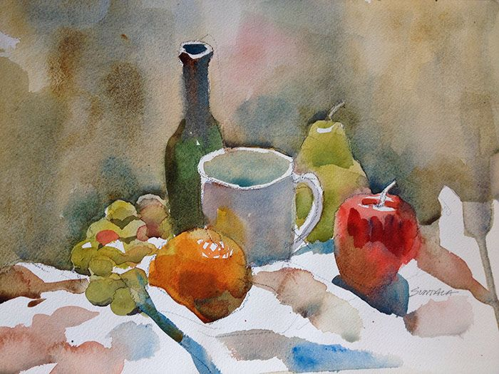 'Still life with pear and mug' Watercolours