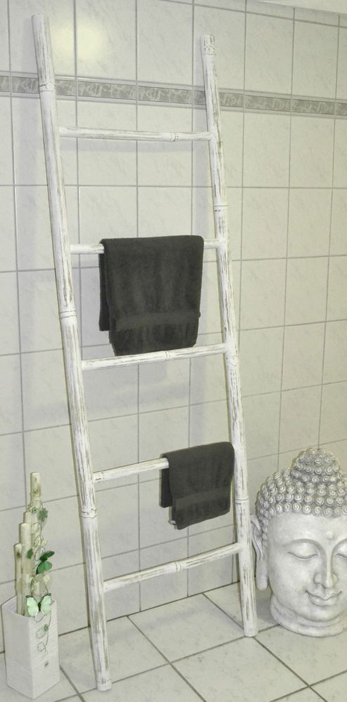 Xl Bambus Handtuchhalter Bambusleiter Dekoleiter Leiter H200 Weiß