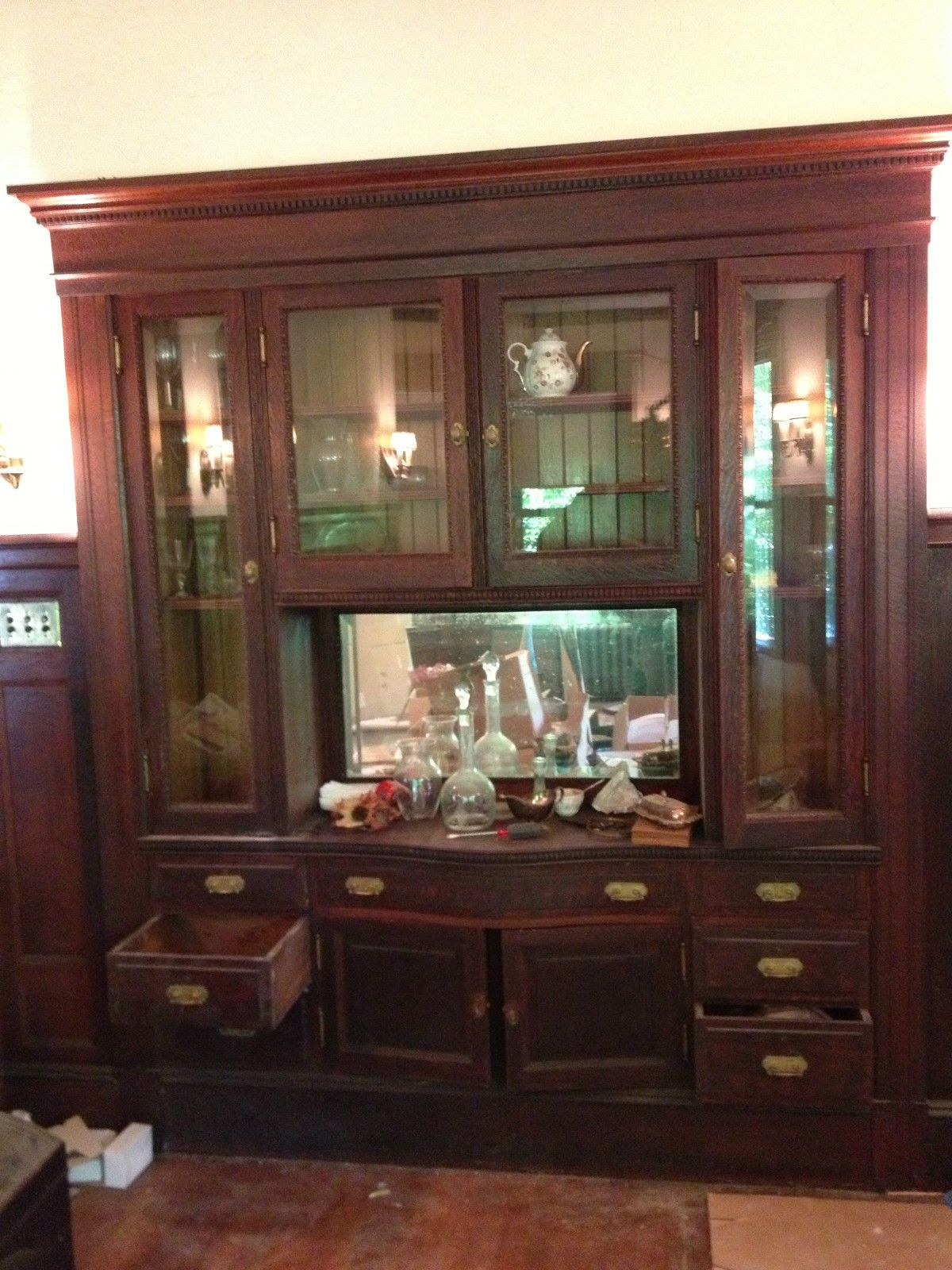 Victorian Built in Oak Cabinet Buffet China Cabinet | China ...