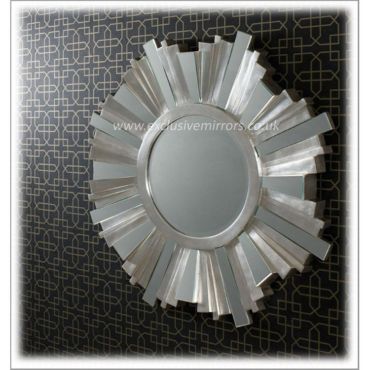 Large Round Silver Mirror Part - 20: Adahra Large Round Silver Mirror 106 Cm