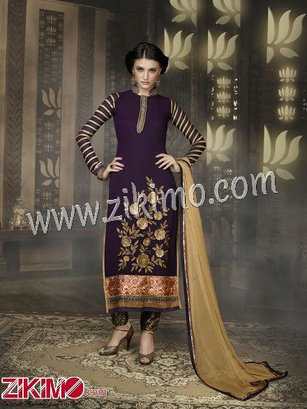 bf7e98a2d PURPLE AND GOLDEN GEOGETTE EMBROIDERY SEMI-STITCHED STRAIGHT SUIT ...