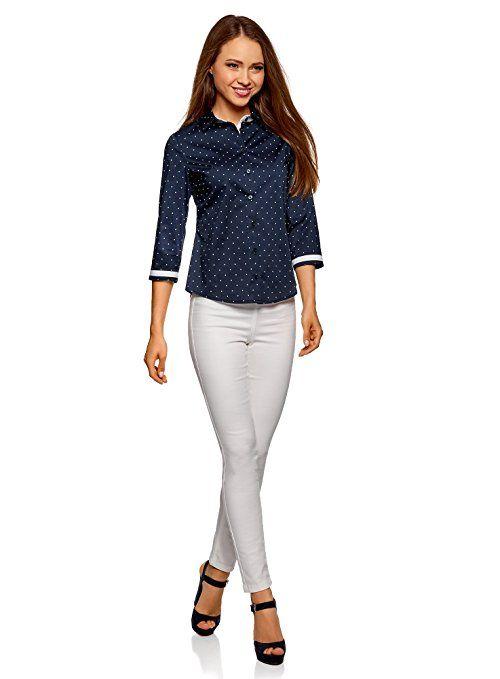 oodji Ultra Damen Baumwoll-Shirt mit Stehkragen und Kurzen /Ärmeln