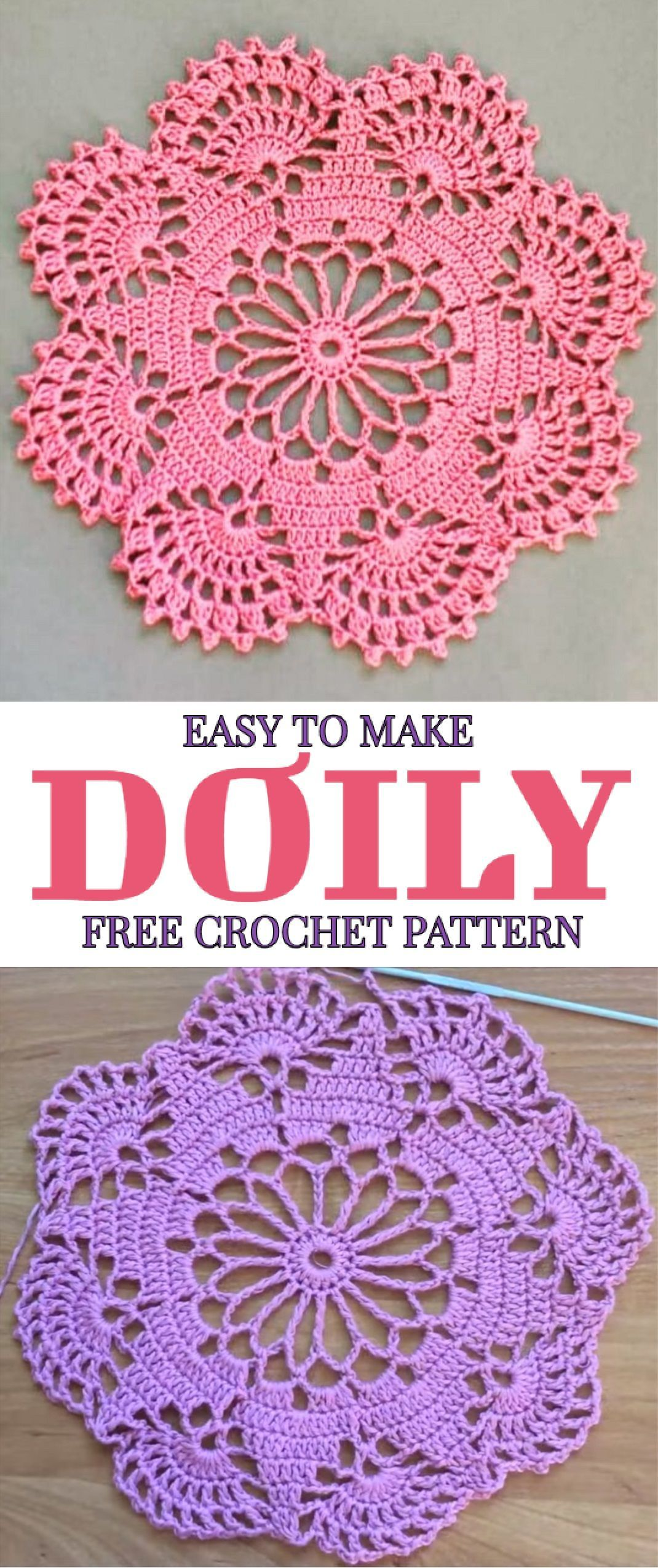 How to Easily Crochet Doily with Free Pattern #dollies