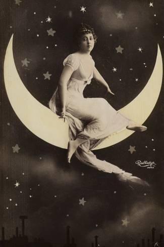 Moon girl postcard
