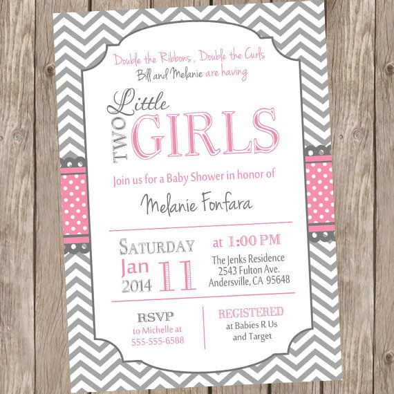 Pink And Grey Two Little Girls Twin Girls Baby Shower Invitation Has