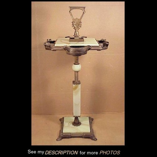 Antique-Art-Deco-Jadeite-Cast-Iron-Smoking-Cigarette-Ash-Tray-Stand