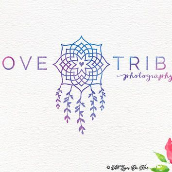 Love Tribe Logo Dreamcatcher Boho Water Color Premade Graphic Design