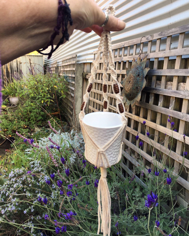 Handmade small cotton macrame beaded pot hanger in 2020