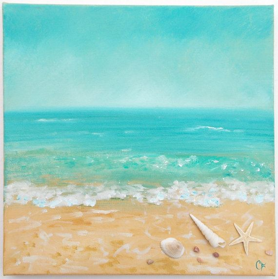 8631f281b1a Beach painting with shells and texture