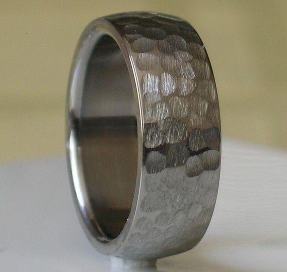 Tungsten Wedding Band Comfort Fit Custom Designed Hammer Finish for
