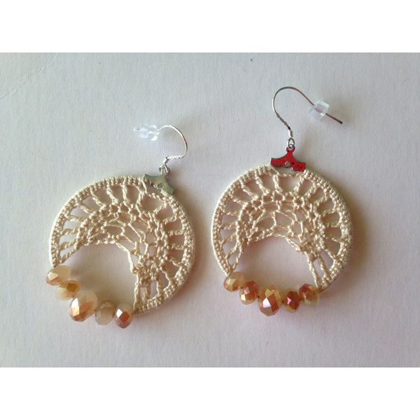 abb02013915 Crochet Lace Small Hoops With Cream Beige Cotton Thread and Czech... ( 24)  via Polyvore featuring jewelry and earrings