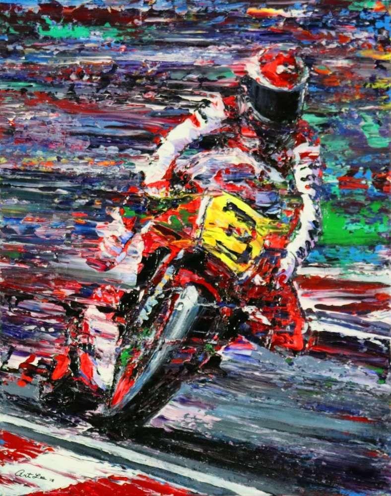 Art Print Trail Braking Grand Prix Motorcycle Racing Limited