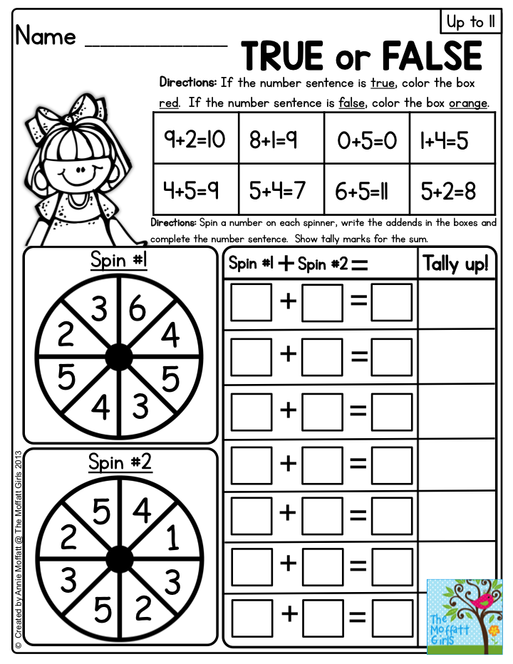 Interactive Math Packets with addition up to 20- This