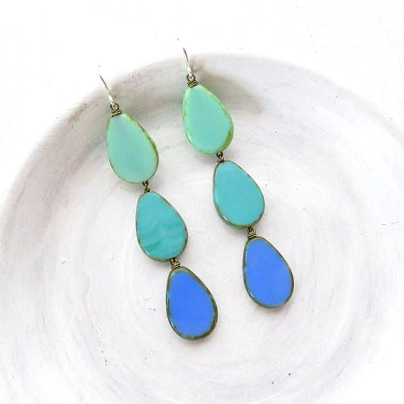Coronation Earrings \u003e Turquoise \u003eVivid turquoise  azure blue glass - statement form