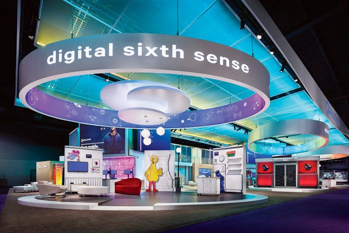 At The 2013 Consumer Electronics Show In Las Vegas Freeman Built A Two Story Exhibit Space For Qualcomm Trade Show Booth Design Booth Design Tradeshow Booth