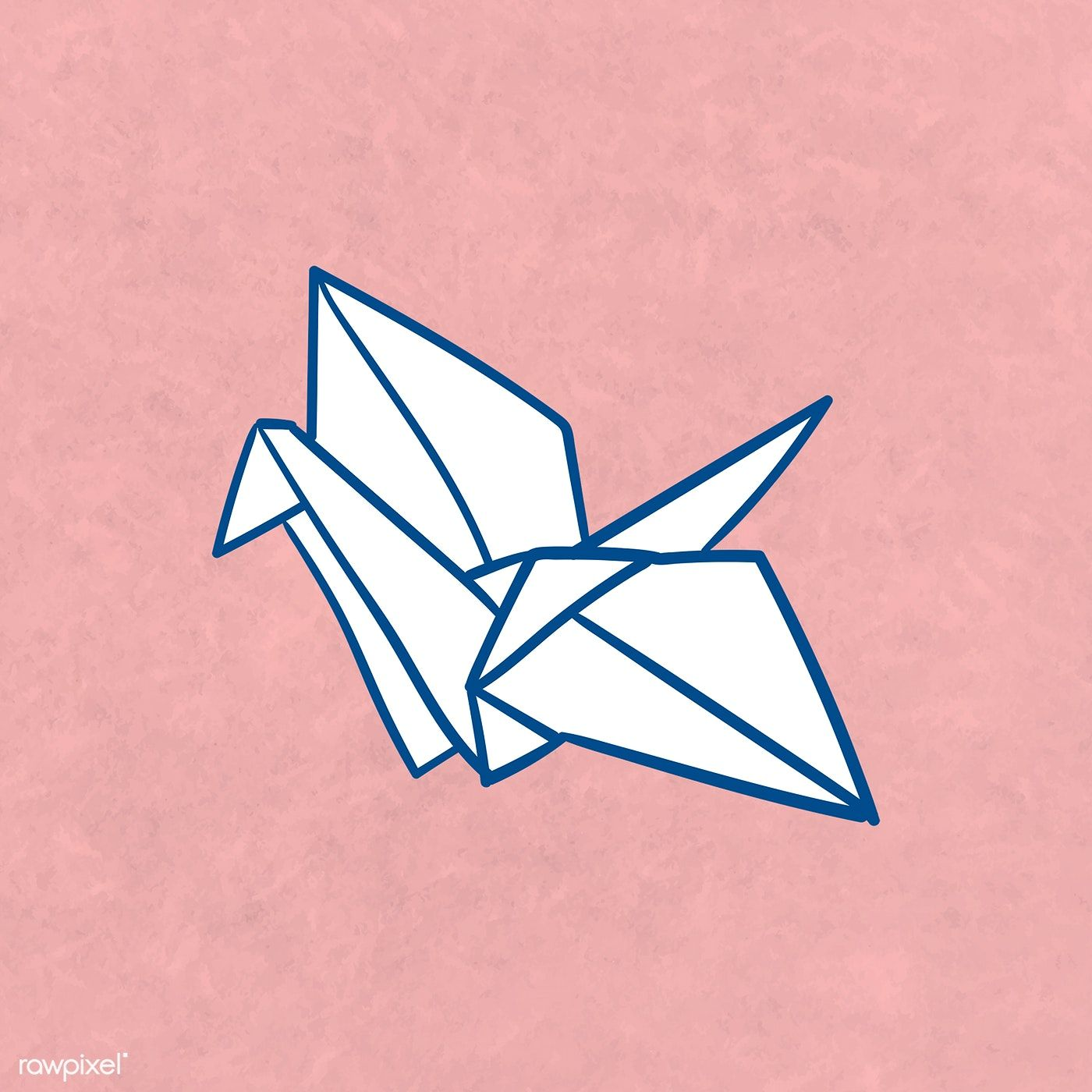 Photo of Download free illustration of Origami paper crane template illustration
