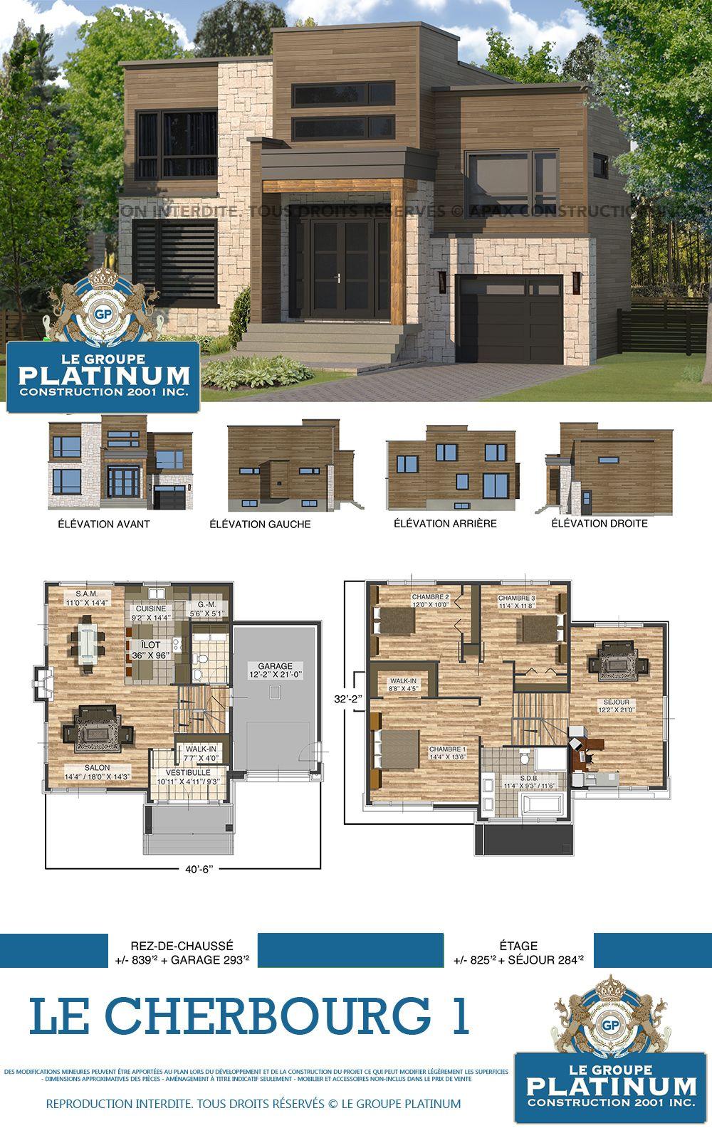 Modèle De Maison Neuve Le Cherbourg Le Groupe Platinum Construction De Maisons Et Condos Ne Dream House Plans Luxury House Plans Contemporary House Plans