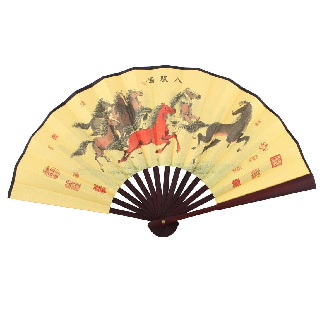 Wooden Frame Eight Horses Pattern Chinese Style Folding Handheld Fan ...