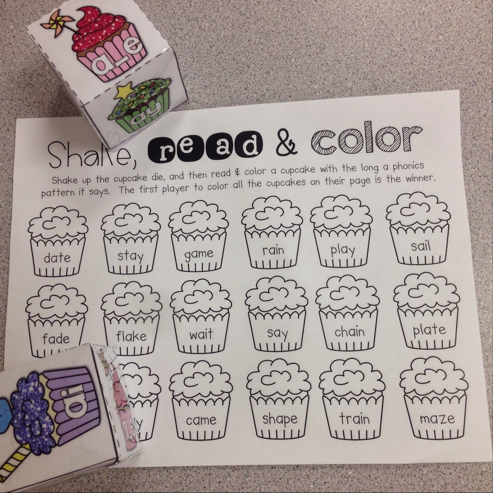 First Grader Last Long Vowel A Cupcakes Freebies