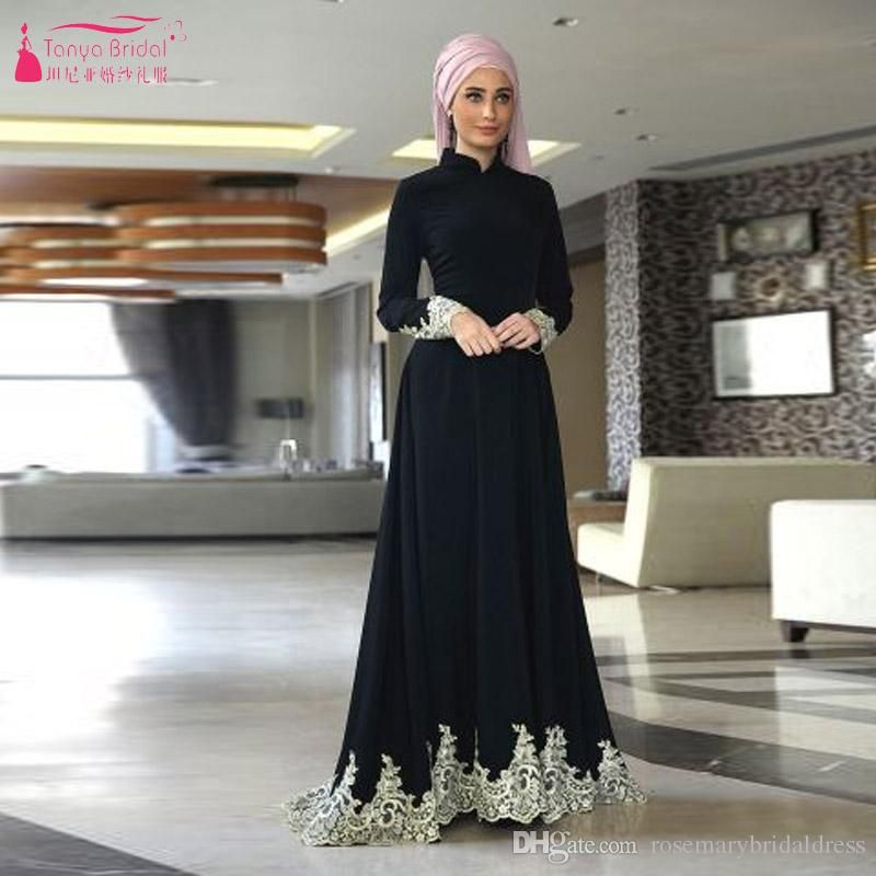 Black Long Sleeve Muslim Prom Dresses High Neck Long Simple Evening Dresses  With Hijab African Vestido De Festa Modest Prom Dresses Prom Dress Shops  From ... 926aa0a01cdb