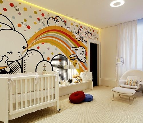 weißes babybett zimmer dekorieren wandmalerei hasen einbauleuchten ...