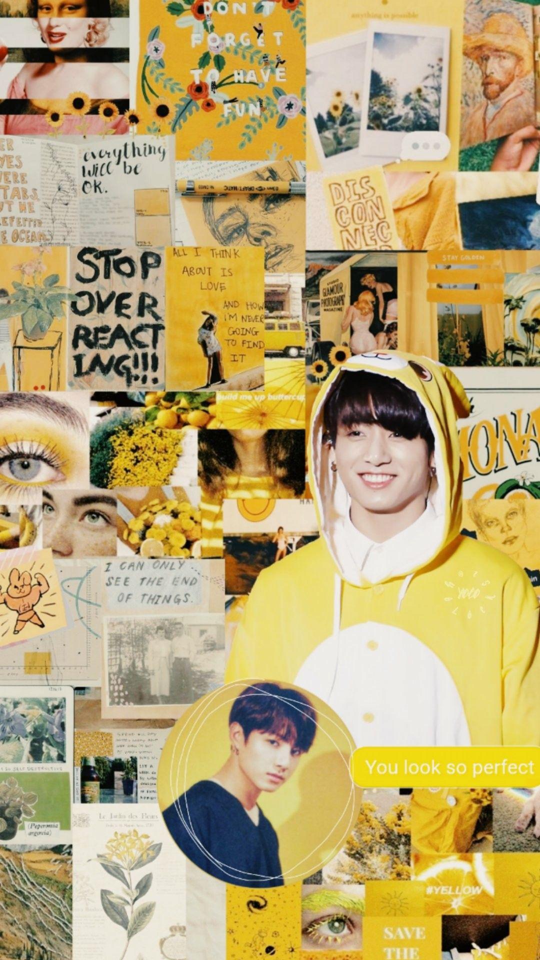jungkook yellow aesthetic wallpaper credits to