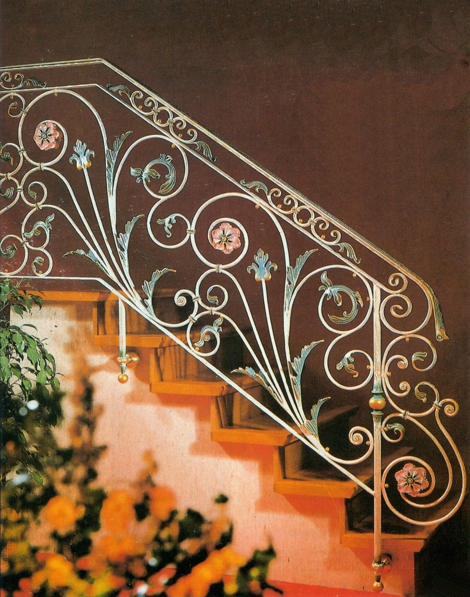 Exterior Chic Floral Patterned Wrought Iron Stair Railings Design
