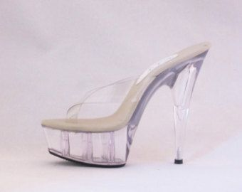 2a1e53c3b0688 VIP 6 inch Silver / Clear Thick Thong Mule High Heel by IdealHeels ...
