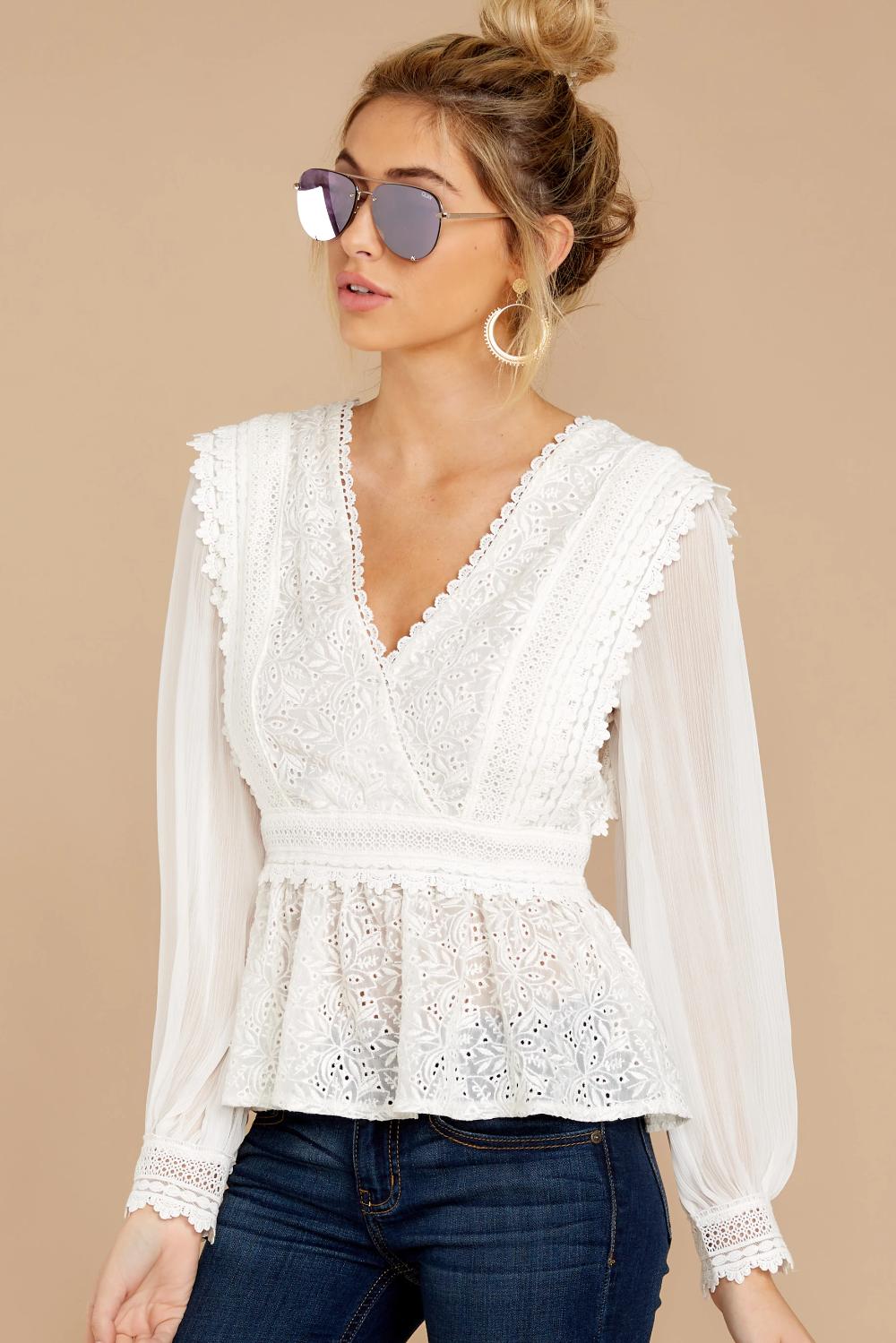 Elegant White Blouse Long Sleeve Lace V Neck Top 72 00 Red Dress Lace Top Outfits Lace Top Long Sleeve Lace Top Outfit White [ 1499 x 1000 Pixel ]