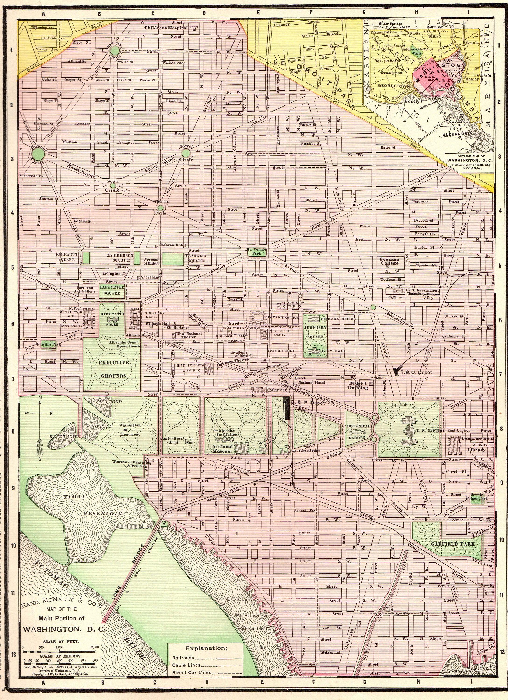 1899 Antique WASHINGTON DC MAP Vintage Map of Washington Dc Travel ...