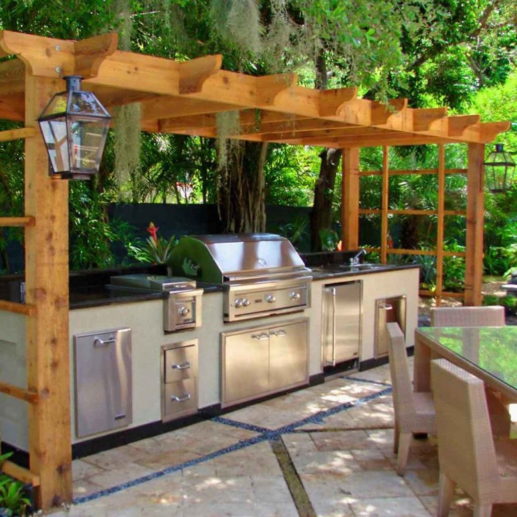 Outdoor Kitchen Wood Countertops: Outdoor Barbecue Area Ideas