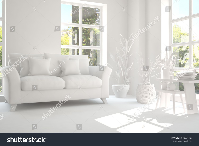 White Room With Sofa And Green Landscape In Window Scandinavian Interior Design 3d Illustration Ad In 2020 White Room Scandinavian Interior Design Green Landscape