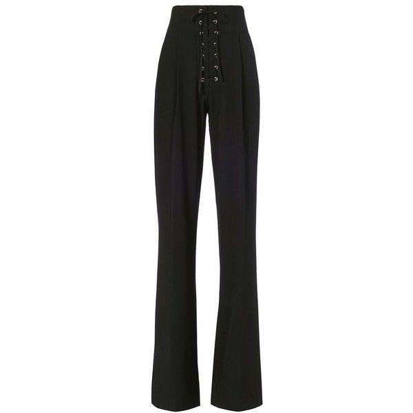 A.L.C. Women's Estrada Lace-Up Trouser ($495) via Polyvore featuring pants, black, pleated trousers, lace-up pants, pocket pants, pleated pants and side zip pants
