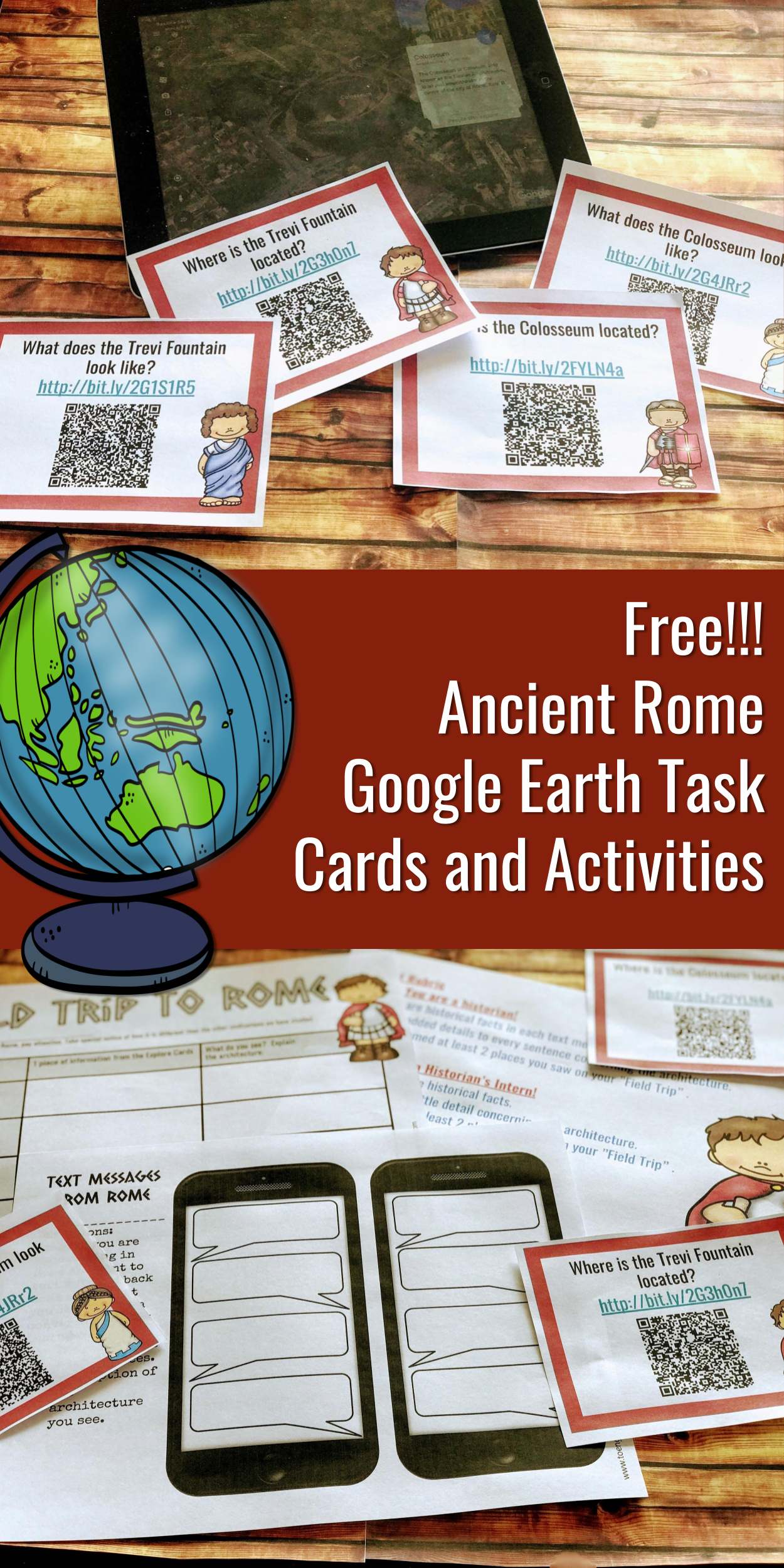 Free Ancient Rome Earth Task Cards And
