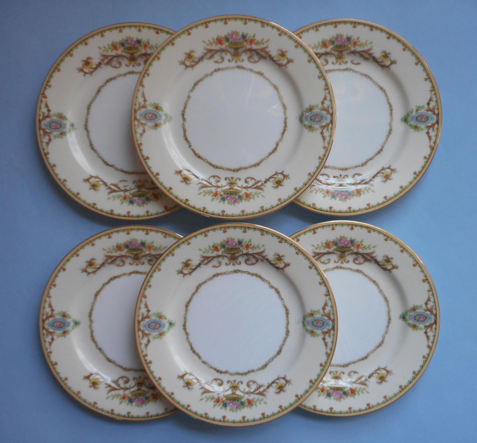 2 SETS GOLD ENCRUSTED BOUILLON CREAM SOUP BOWLS /& SAUCERS FAB MINTON CHINA H1886