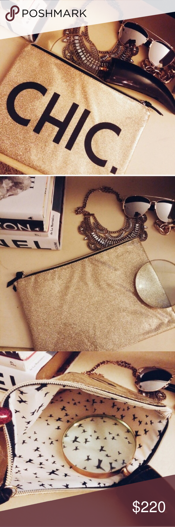 Accessories | CHIC gold glitter clutch This clutch is *stand out* & somehow neutral at the same time! gold glitter background (glitter does not rub off, this is smooth, shiny plastic feel) on front & back // black letters CHIC adorn this adorable bag // brand new never worn // zipper closure // fully lined // lightweight and durable... What else could a gal want?!  Take as a clutch for some serious day drinking (my fav brunch accessory!) OR travel with it on the go & at home as a cosmetics bag.  #goldglitterbackground