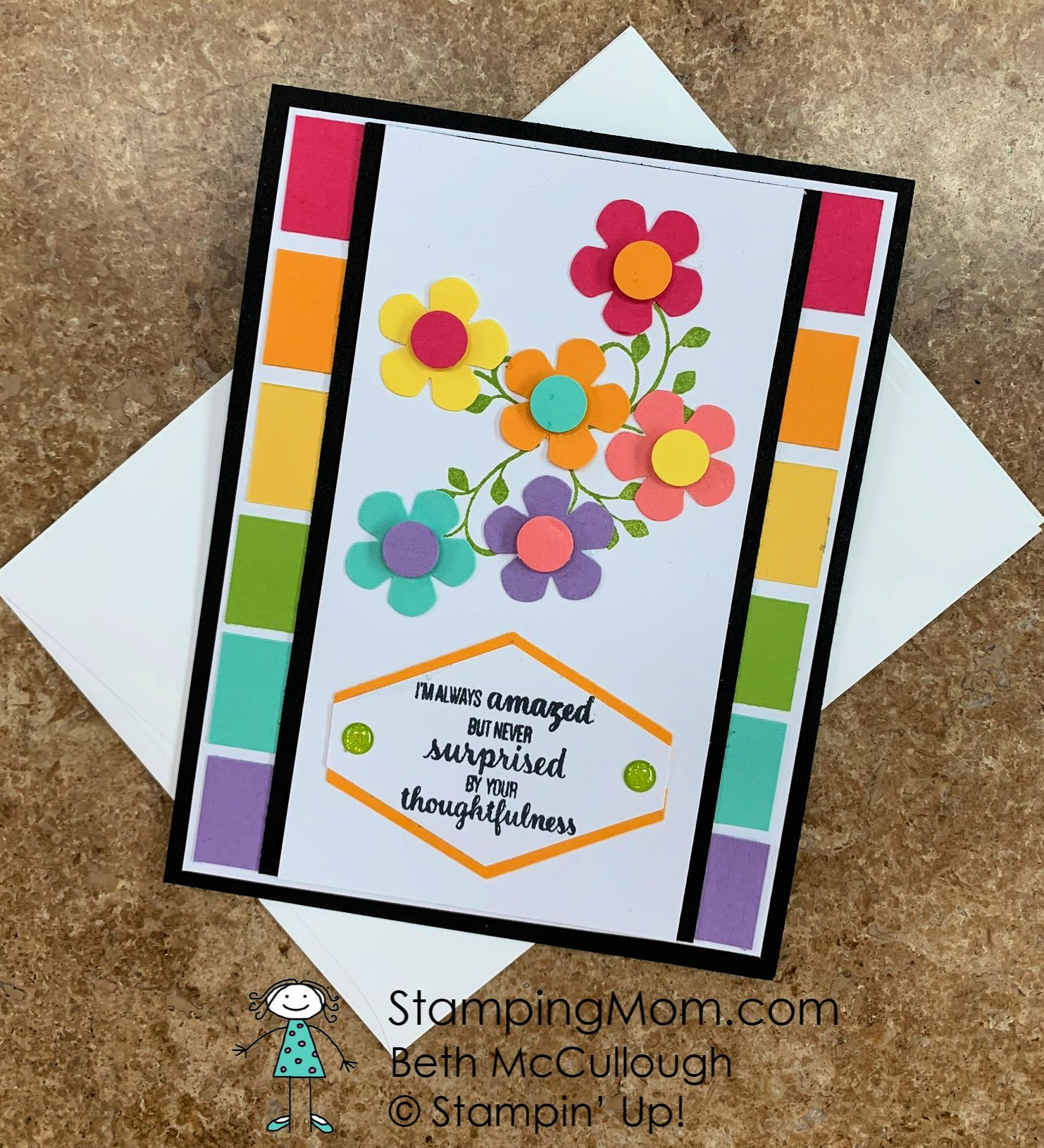 Bright and happy Thank you card