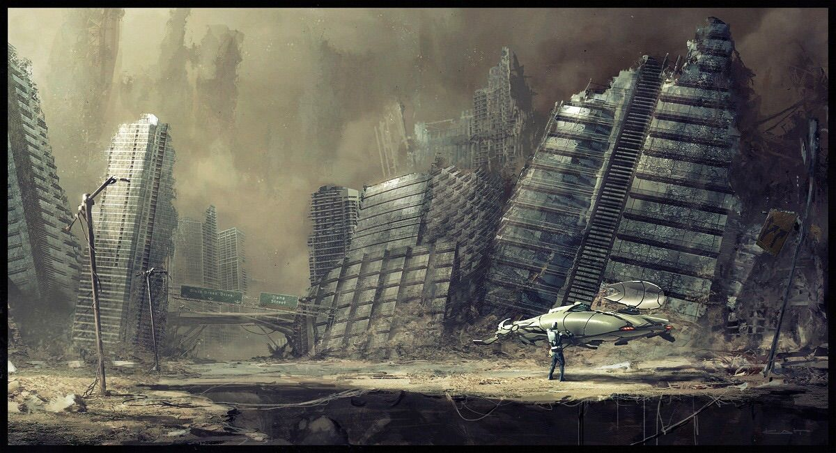 Cool destroyed city   City drawing, Post apocalyptic art ...