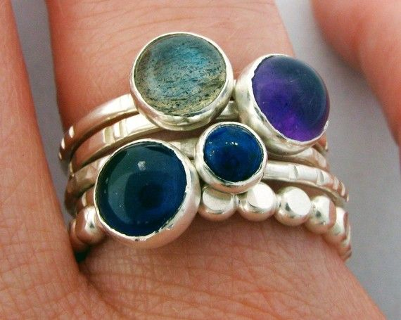 Sterling Silver Stacking Ring Set of 5 with Iolite, Lapis Lazuli, Amethyst, Labradorite