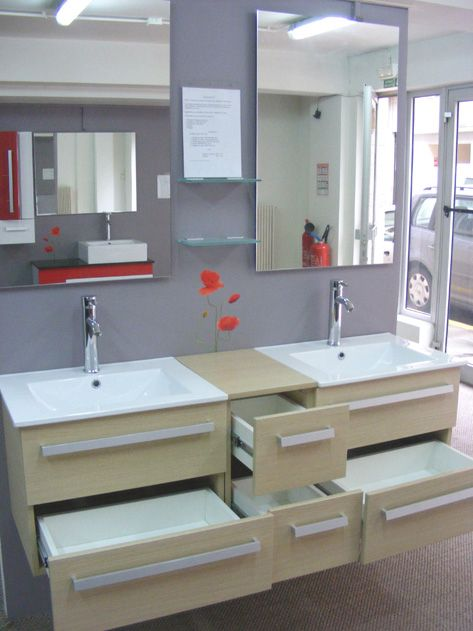 Meubles #Salle #Bain double vasque beige    www7sdb 24