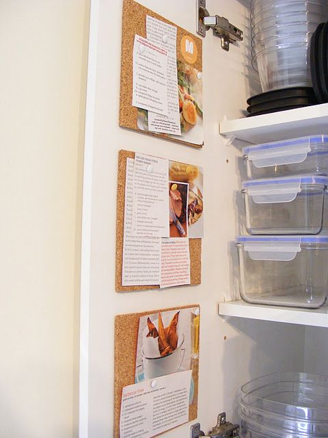 Put Cork Boards Inside Pantry Door To Organize Weekly Recipes