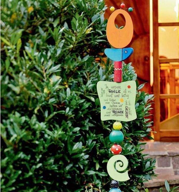 Glückswächter Totem Glückswächter Gartendeko holz, Holzstelen und Garten deko ~ 04211908_Gartendeko Mit Kindern Gestalten