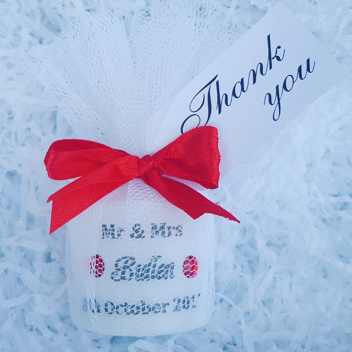 Personalised Wedding Favour Candles Individually Wrapped: Personalised Wedding Candle Favour Wrapped In Tulle And