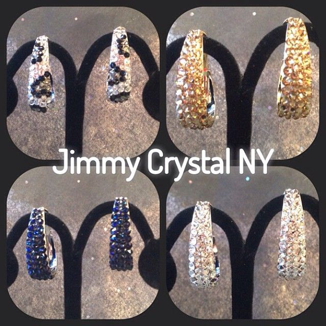 cca9091f8 Assorted colors of Jimmy Crystal NY Swarovski crystal hoop earrings. Many  colors available through Absolutely Fabulous in Huntington Beach, CA